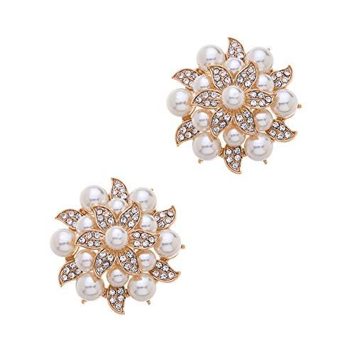 Casualfashion 2Pcs Fashion Rhinestones Pearls Flowers Crystals Wedding Party Shoe Clips (Gold)