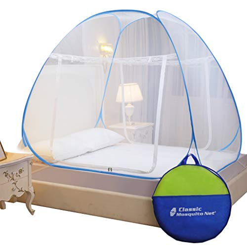 Classic Mosquito Net , King Size Bed , Polyester Foldable Size (L200cm X W200cm X H145cm) - Blue