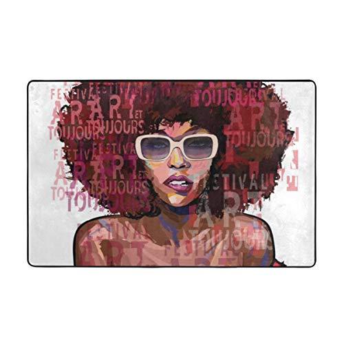 Lichenran Alfombrilla baño, Alfombra de Cocina Puerta Pies Estera Felpudo,Chica afroamericana con Gafas de Sol en Letras Grunge 75X45cm