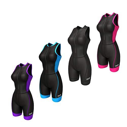 Foxter Triathlonanzug für Damen – TriSuits Woman – Damen Tri-Anzug gepolstert – Triathlon Einteiler Skinsuit Schwimmen – Fahrrad – Laufen, schwarz / schwarz, XXL