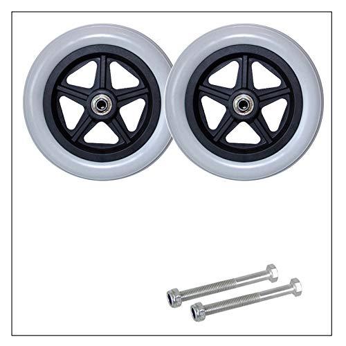 YSJX Grau Räder Caster Vollgummireifen Ersatzteil für Rollstuhl,Leichtlauf,Rollstuhl Reifen Passend für Manuellen Rollstuhl,150mm/180mm,2 Stück