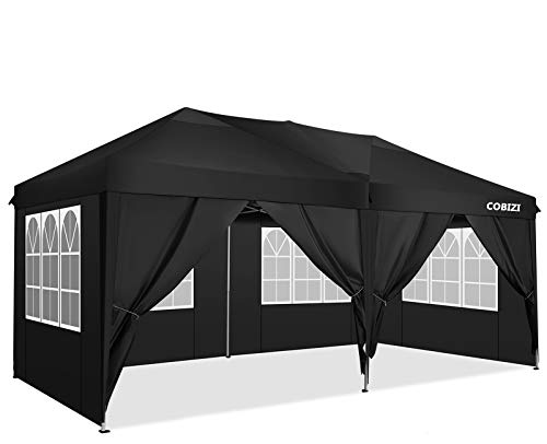 COBIZI 3x6m Pop up Gazebo Tent Commercial Instant Shelter Heavy Duty Gazebo, Fully Waterproof, Premium Pop up Gazebo With 6 Side Walls for Outdoor Wedding Garden(3 x 6 m, Black)