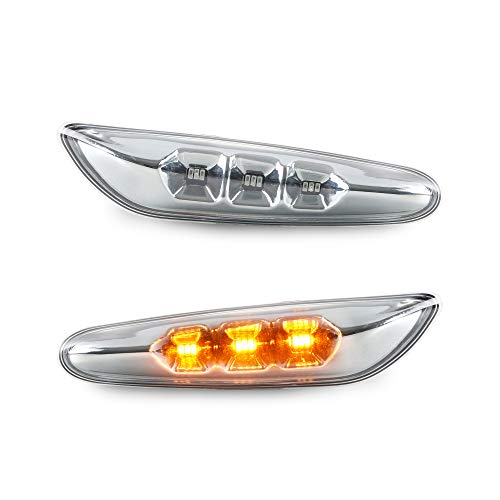 LED Seitenblinker Chrom Blinker kompatibel mit E46 E90 E91 E60 E61 E82 E87 Plug & Play
