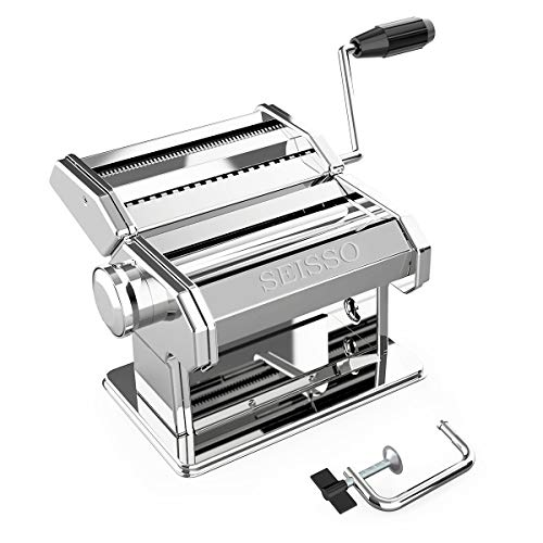 Hand Crank Pasta Maker Machine, Stainless Steel Manual Noodle Maker with 7 Adjustable Thickness and 2 Widths, 2 in 1 Pasta Roller and Cutter for Homemade Spaghetti, Linguine, Mom Gifts Mother's Day