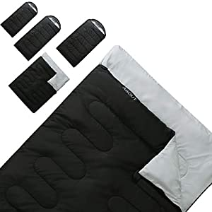 ASOUT Sleeping Bag for Adults Camping, Hiking, Backpacking, Extra-Wide, Portable, Comfort, Great for 4 Season Warm & Cold Weather