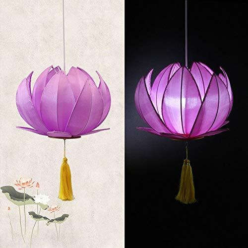 JERPOZ Laterne Kronleuchter Klassische Tuch Lotus Lampe Lotus Kronleuchter Buddhist Buddhistische Tempel Wohnzimmer Lampen Iron Restaurant (Color : B)
