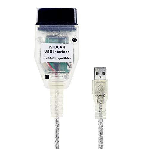 INPA K + D CAN Cable for BMW E60 E61 E70 E81 E83 E87 E90, E1, E92, E93 R56, OBD2 OBDII Diagnostic Test Scanner USB Interface Cable Adaptor, INPA Cable for BMW Full Diagnosis from 1998 to 2008 Models