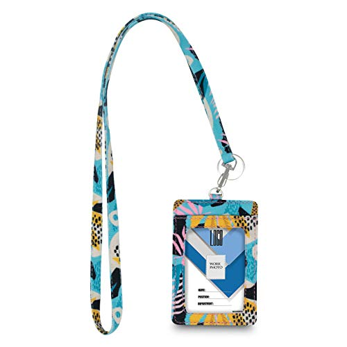 Limeloot Teal Tropical Lanyard with ID Badge Holder and Key Ring