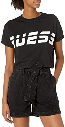 GUESS Women s Active Short Sleeve Crew Neck Cropped T Shirt Jet Black Small product image
