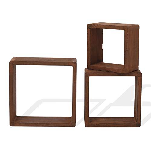 Rebecca Mobili Juego 3 estantes Cuadrados en Madera Clara Natural, estantes para Pared Cubo, estantería para Dormitorio y salón - Medidas: 26 x 26 x 9 cm (AxANxF) - Art. RE4180