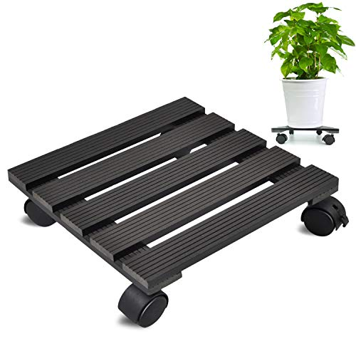 CERBIOR Plant Caddy Heavy Duty Plant Stands Pot with Wheels Indoor/Outdoor Holds Up 12 Inches and 80 Lbs Strong and Sturdy Design (Square, Charcoal)