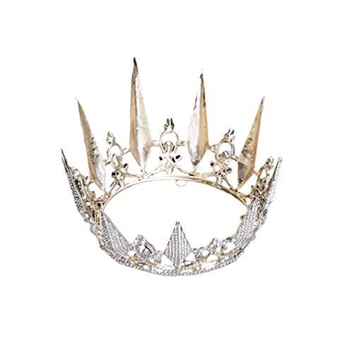 PRETYZOOM Strass Couronne Cristal Diadème Fait à La Main Couronne Chapeau Brillant Cheveux Accessoires pour Mariage Prince Princesse Mariée Fournitures de Fête D'anniversaire (Doré)