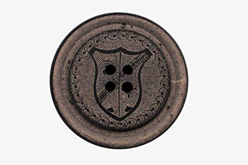 Ökoknopf ® knopen beige grijs Urea en hoorn 4 gaten plat wapen motief lederlook (5 stuks)