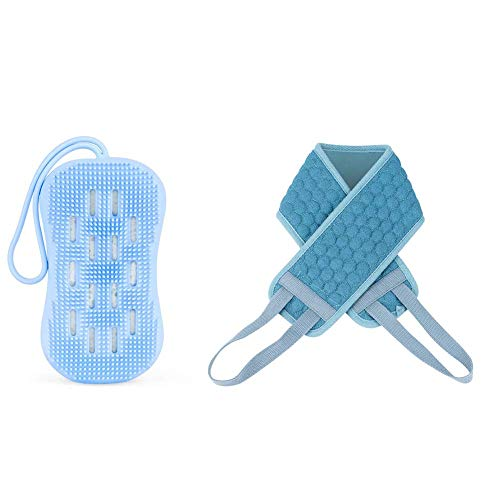 CHICIEVE Brosse exfoliante 100 % naturelle en chanvre et silicone pour le dos - Brosse de massage pour le corps - Outil de douche - Texture douce - An