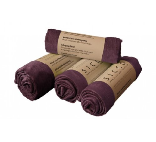 Wirth SICCO Set Bodycare 2x Handtuch 60 x 90 cm / 1x Duschtuch 70 x 130 cm / 1x Seiftuch 3-er Pack Mikrofaser, Set, Handtuch Microfaser, lila