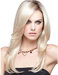 Wig female bangs fluffy temperament wig European and American gold long straight hair