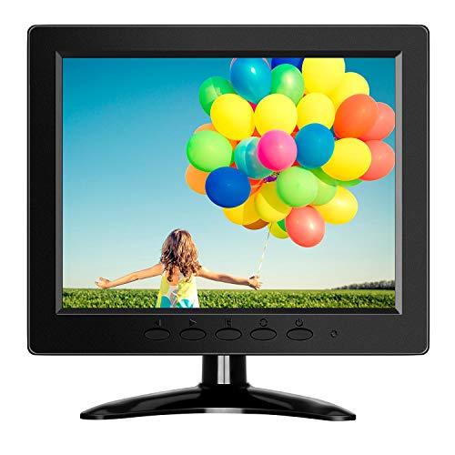 Eyoyo - Monitor LCD pequeño de 8 pulgadas (800 x 600), monitor CCTV de seguridad, pequeña pantalla VGA con entrada VGA/AV/BNC