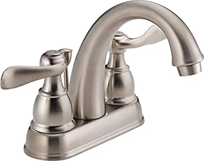 Delta Faucet Windemere Centerset Bathroom Faucet Brushed Nickel, Bathroom Sink Faucet, Metal Drain Assembly, Stainless B2596LF-SS
