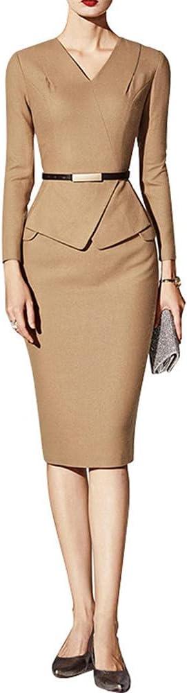 Fashion Office Pencil Dress for Women V Neck Long Sleeve Formal OL Work Casual Bodycon Dress Midlength Dresses-Khaki_M