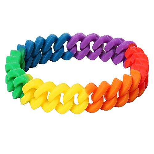 TRIXES Brazalete Trenzado de Silicona Colores Arcoíris para Celebraciones/ Desfiles del Orgullo Gay - LGBT (Lesbianas, Gays, Bisexuales y Transexuales)