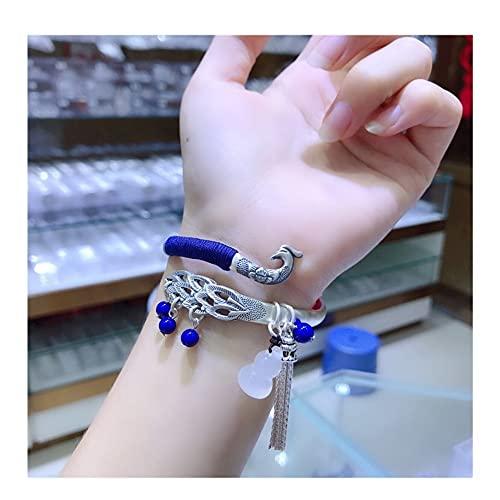 N\A Damenarmbänder, Armbänders,Armreif Damen Emaille Niedlichen Tier Pfau Armband, Ethnisches Armband Silber Pfau Traditionelles Offenes Armband Manschettenzubehör