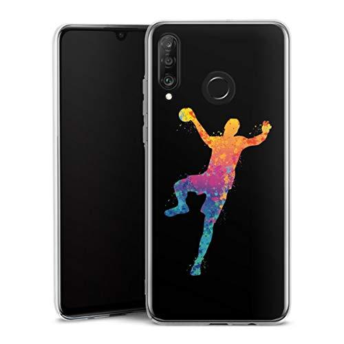 DeinDesign Hard Case kompatibel mit Huawei P30 Lite Schutzhülle transparent Smartphone Backcover Handball Farbklecks Ball