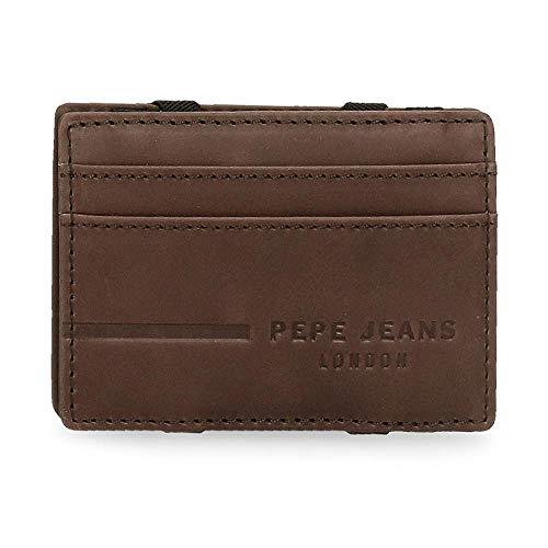 Pepe Jeans Ander Billetero con Tarjetero Marrón 9,5x6,5x1 cms Piel
