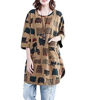 ellazhu Women Summer Round Neck Cat Print Shirt Top GA1366 Yellow