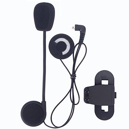 FDC–Micrófono + auriculares auricular y Clip accesorio Set para casco de moto Bluetooth interphone de comunicación de