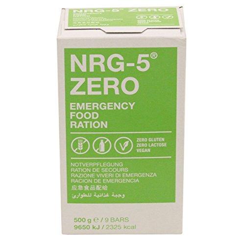 MFH Notverpflegung NRG-5 Zero 500 Gramm 9 Riegel Vegane Krisennahrung Glutenfrei Laktosefrei Survivalfood