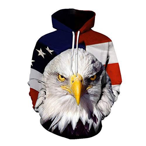XUEMEI Eagle Tiger Lion 3D Druck Herren Pullover Hoodie Paare Sweatshirt Casual Sportswear Bequeme Tops Jacke A-3X-Large