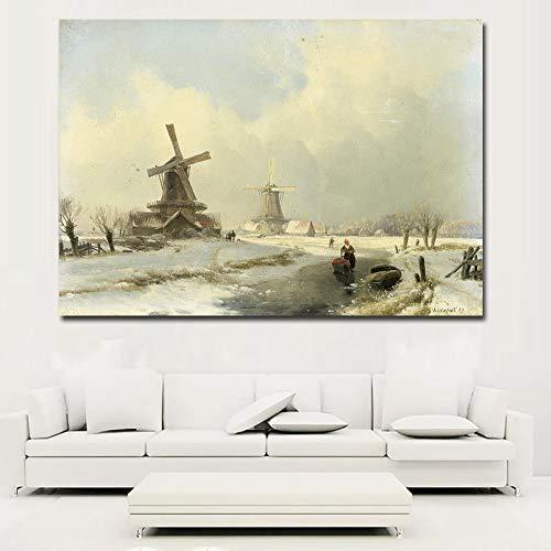 SADHAF Schöne Winter Schneeszene und Windmühle Poster Leinwanddruck auf Leinwand Kunstdruck Wohnzimmer Dekoration A3 50x70cm