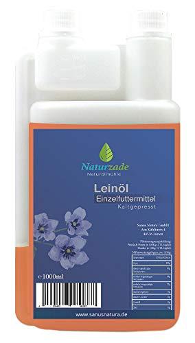 Naturzade Leinöl 1 Liter Premium Qualität 100% rein, kaltgepresst für Pferde & Hunde