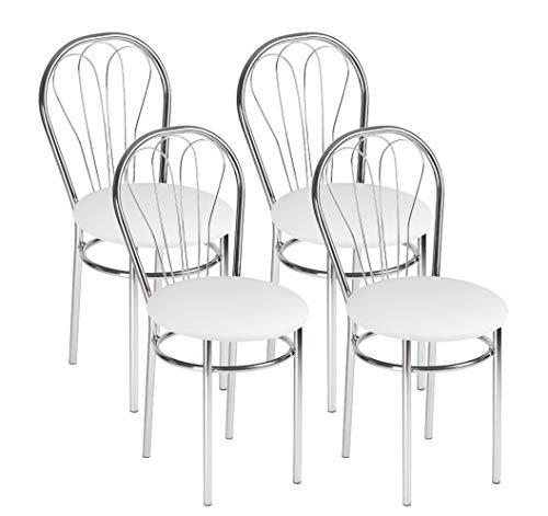 Design Moderne Chaise de Salle à Manger en Cuir Faux, Lot de 4 Chaises de Salle à Manger avec Pieds en Métal - Venus Chrome - Couleur: Blanc - Lot de 4