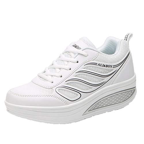 Chaussures CompenséEs Femme Ete Confortable en Daim Cuir Baskets Mode LéGer Respirante Pas Cher Tendance Soldes Air Cushion Sneakers Basses Outdoor Sport
