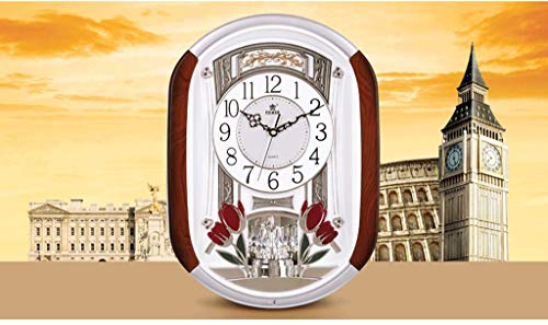 Horloge murale style européen salon créatif horloge de mode mariage horloge murale luxe musique temps muet quartz (Couleur : Silver)