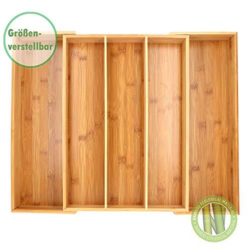 SCHOBERG XXL Besteckkasten aus Holz Schubladeneinsatz ausziehbar Bambus 33-58cm x 45,5cm x 7cm Besteck Kasten Besteckeinsatz Universal