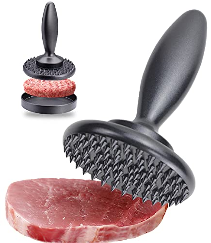 Meat Tenderizer, 3-in-1 Reversible Meat Tenderizer Tool and Pounder Dual Sided Meat Mallet, Burger Press Patty Maker, Easy To Clean and Tenderize Steak Pork Poultry