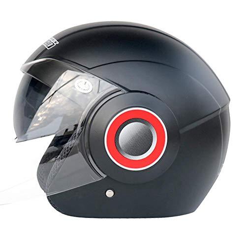 WUYEA Casques De Moto avec Double Masque Demi Visage Vintage Personnalité Casque De Vélo pour Hommes Et Femmes,XL