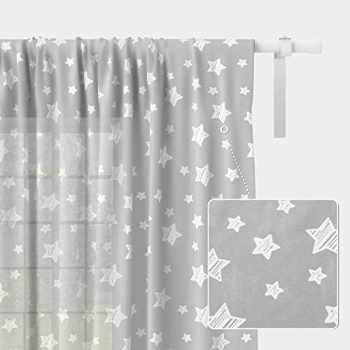 Kids Curtains for Living Room, Kids Room Sheer Curtains Cute Printed Light Filtering Window Curtains 63 Inch Length, Rod Pocket Curtains for Boys and Girls Bedroom