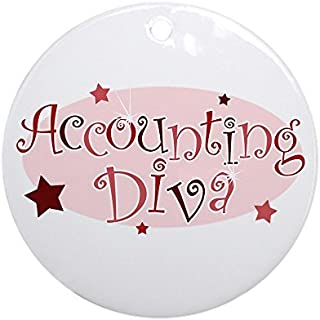 Delia32Agnes Accounting Diva [Red] Christmas Ornaments Porcelain Ceramic Round 3 Inches Ornament Christmas Tree Decorations