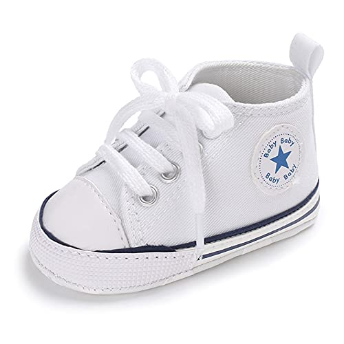 Baby Shoes Boy Girl Star Solid Sneaker Cotton Soft Anti-Slip Sole Newborn Infant First Walkers Toddler Casual Canvas Crib Shoes Comfortable (Baby Age : 13-18 Months, Color : White)