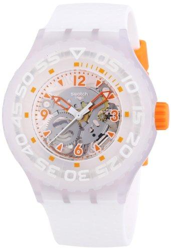 Swatch Clownfish - Reloj de Cuarzo para Hombre, con Correa de Goma, Color Blanco