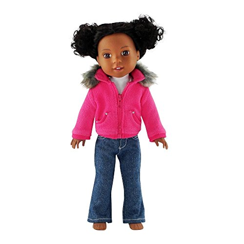 Emily Rose 14 Inch Doll Clothes | 3 Piece Faux Fur Collar Accessory Jacket Outfit for 14 Dolls with White T-Shirt and Blue Jeans | Compatible with 14.5 Wellie Wishers