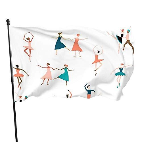 Clsr ~ Weihnachten Santa einseitige Polyester Gartenflagge Wetterbeständiges Material Saisonale Frühling Sommer Outdoor Lustige dekorative Flaggen für Garten Hof Rasen Geschenk für Kinder-Ballerina-