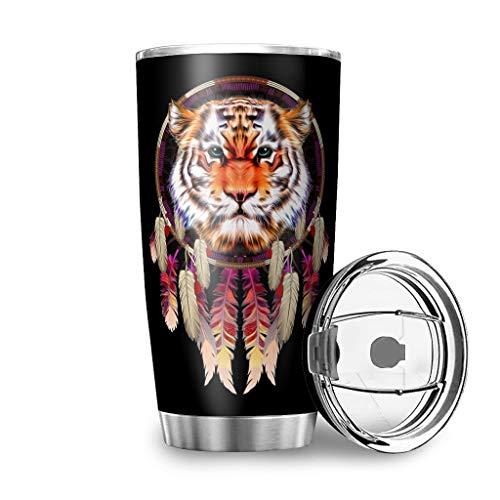 Native America - Tazza da viaggio con disegno di animali e tigre, in acciaio INOX, con coperchio resistente agli schizzi, 600 ml, colore: Bianco