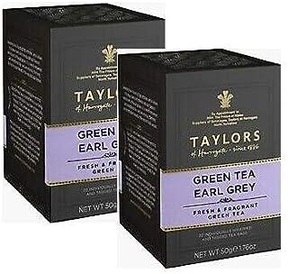 Taylors of Harrogate Grüner Tee Earl Grey Frischer und duftender Grüntee / Bergamotte Grüner Tee Frischer und duftender Tee - 2 x 20 einzeln verpackte und etikettierte Teebeutel 80 Gramm