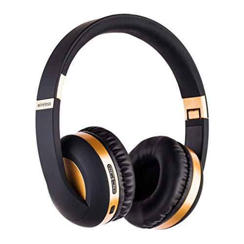 Wsaman Auriculares Inalámbricos Bluetooth,Auriculares para Trabajo y Deportes Viaje, con Mic Reducción de Ruido para Deportes, Oficina en Casa, Trabajo,Oro