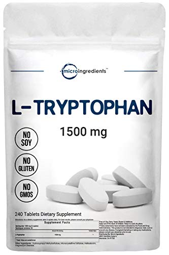 Micro Ingredients L-Tryptophan Supplement, Tryptophan Sleep Aid, 1500mg Per Serving, 240 Caplets, Encourages Positive Mood and Supports Relaxation, Non-GMO