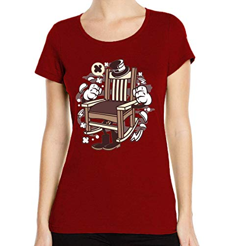 Iprints dames T-shirt cartoon stijl Rocking Chair Ye Olde Times ronde hals